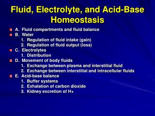 Fluid, Electrolyte, and Acid-Base Homeostasis