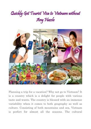Quickly Get Tourist Visa to Vietnam without Any Hassle