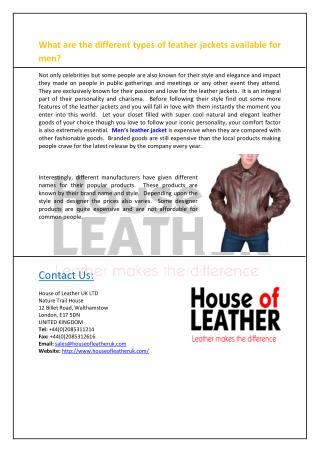 What are the different types of leather jackets available for men?