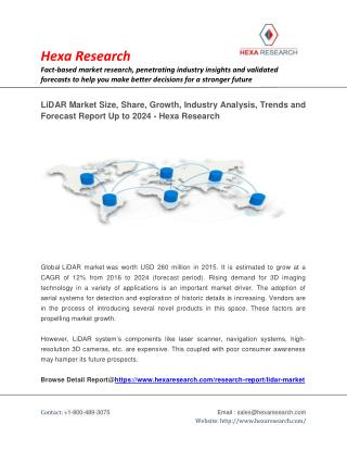 LiDAR Market Research Report - Global Industry Analysis, Size, Growth and Forecast to 2024 | Hexa Research