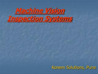 Machine Vision Inspection Systems