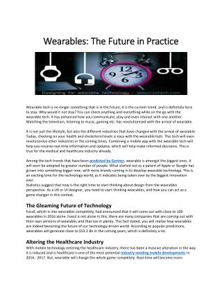 Wearables: The Future In Practice