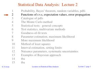 Statistical Data Analysis:  Lecture 2