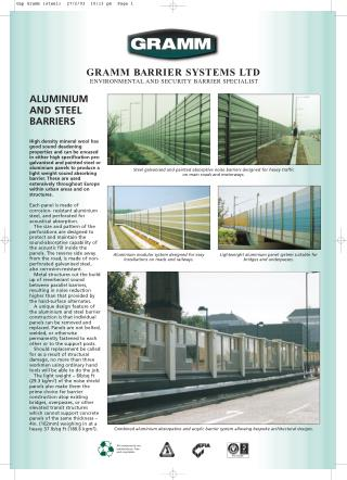 Aluminium and Steel Noise Barriers - Gramm Barriers