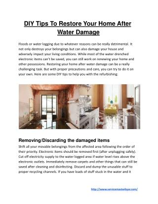 DIY Tips To Restore Your Home After Water Damage
