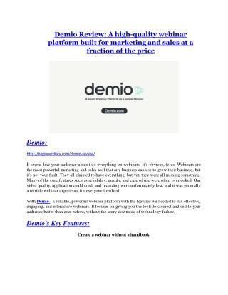 Demio review demo and premium bonus