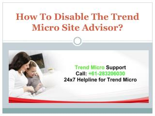 How To Disable The Trend Micro Site Advisor?