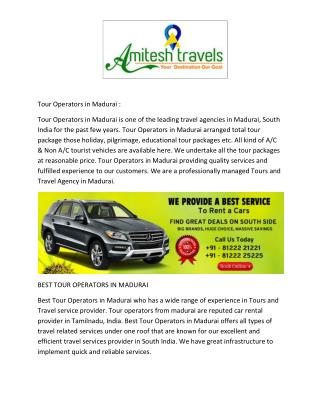 Tour Operators in Madurai | Tour Operators from Madurai | Tour Operators in Madurai Tariff | Best Tour Operators in Madu