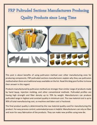 FRP Pultruded Sections Manufacturers Producing Quality Products Since Long Time