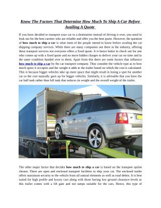 Know The Factors That Determine How Much To Ship A Car Before Availing A Quote