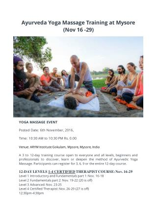 Ayurveda Yoga Massage Training at Mysore (Nov 16 -29)