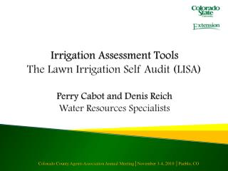 Irrigation Assessment Tools The Lawn Irrigation Self Audit (LISA) Perry Cabot and Denis Reich Water Resources Specialist