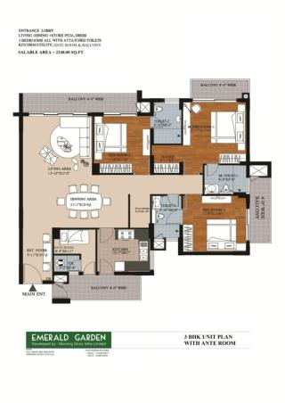 3 BHK With Ante Room in Kanpur - Emerald Garden