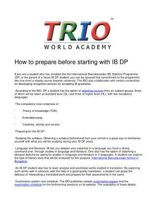 How to prepare before starting with IB DP
