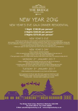 2016 New Year's Eve Packages