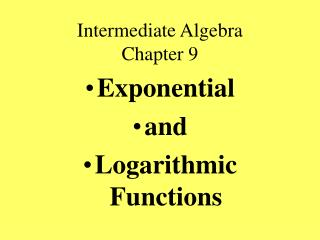 Intermediate Algebra Chapter 9