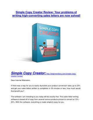 Simple Copy Creator review-- Simple Copy Creator (SECRET) bonuses