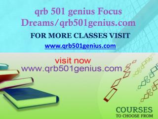 qrb 501 genius Focus Dreams/qrb501genius.com