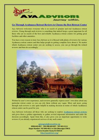 Go Through Ayahuasca Retreat Reviews to Choose the Best Retreat Center