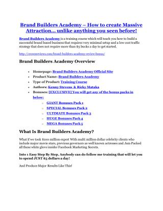 Brand Builders Academy Review-(Free) bonus and discount
