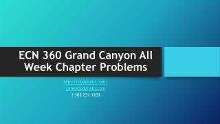 ECN 360 Grand Canyon All Week Chapter Problems
