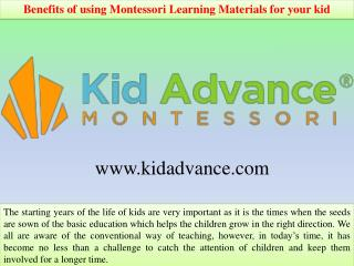 Benefits of using Montessori Learning Materials for your kid