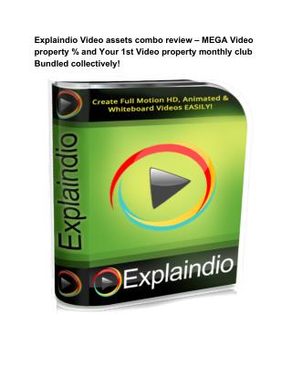 Explaindio Video assets combo review,  animation and hd video  maker