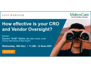 Webinar on How effective is your CRO and Vendor Oversight