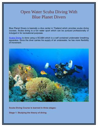 Open Water Scuba Diving with Blue Planet Divers