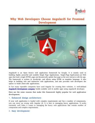 Why Web Developers Choose AngularJS for Frontend Development