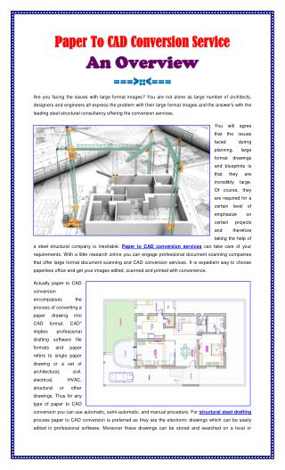 Paper To CAD Conversion Service