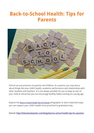 Back-to-School Health: Tips for Parents