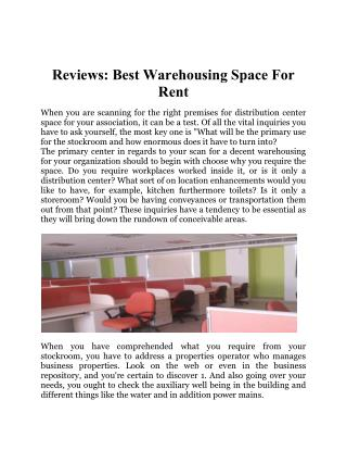 Reviews : Best Warehousing Space For Rent