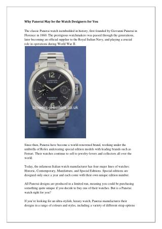 Why Panerai May be the Watch Designers for You