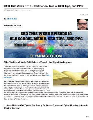 SEO This Week EP10 – Old School Media, SEO Tips, and PPC