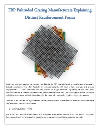 FRP Pultruded Grating Manufacturers Explaining Distinct Reinforcement Forms