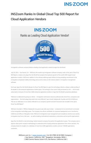 INSZoom Ranks In Global Cloud Top 500 Report for Cloud Application Vendors | INSZoom