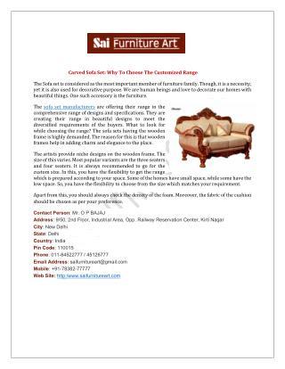 Carved Sofa Set Manufacturers Delhi