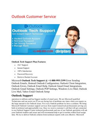 Outlook Support /  1-888-995-2199 / Outlook Help