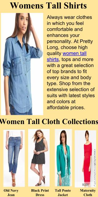 Best online womens Tall shirts