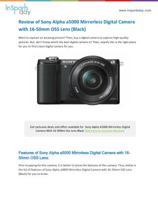 Sony Alpha A5000 Mirrorless Digital Camera Review