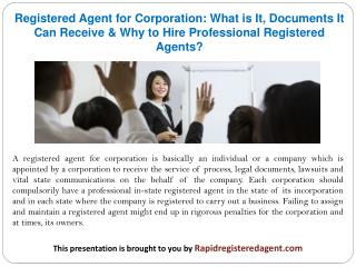 Registered Agent for Corporation: What is It, Documents It Can Receive & Why to Hire Professional Registered Agents?