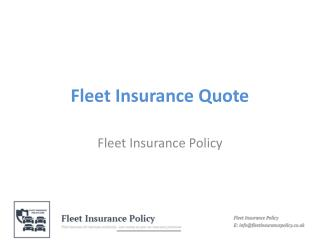 Fleet Insurance Quote
