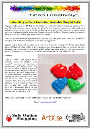 Latest Acrylic Paint Collection Available Only At ArtX