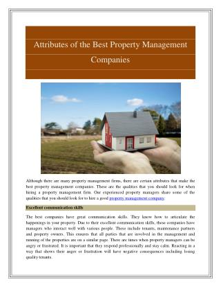 Property Management Company Services