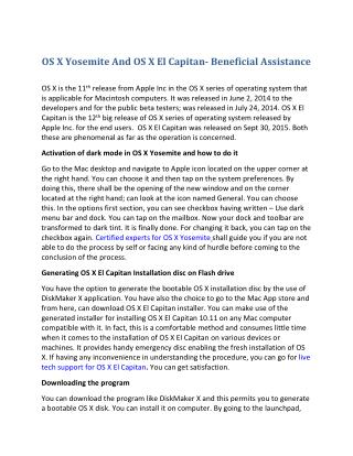 OS X Yosemite And OS X El Capitan- Beneficial Assistance