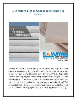 5 Excellent Tips to Choose Wholesale Bed Sheets