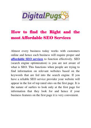 How to find the Right and the most Affordable SEO Services