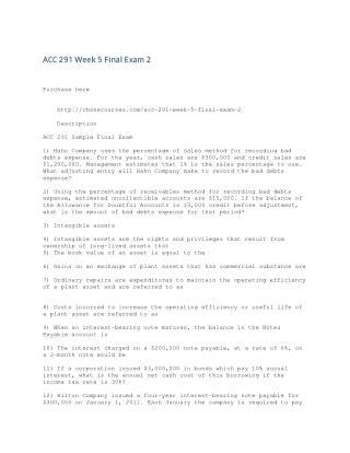 ACC 291 Week 5 Final Exam 2