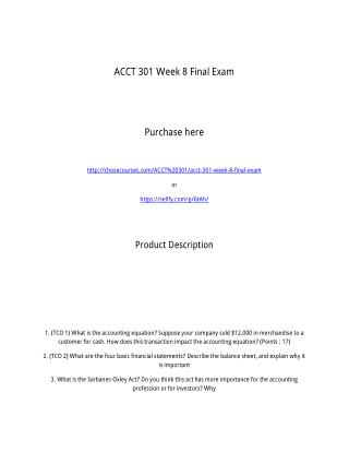 ACCT 301 Week 8 Final Exam